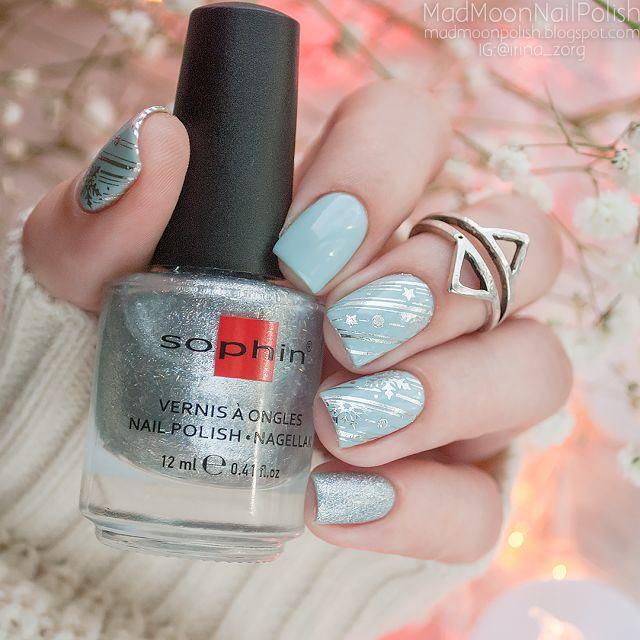 Winter nail art  Barry M - Blue Moon и слайдер-дизайн Master Beauty F82 - Mad Moon's Blog