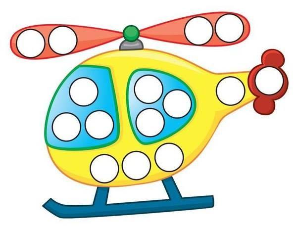 Hélicoptère à décorer avec des gommettes