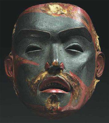 Tsimshian Face Mask. polychrome wood. Northwestern America.