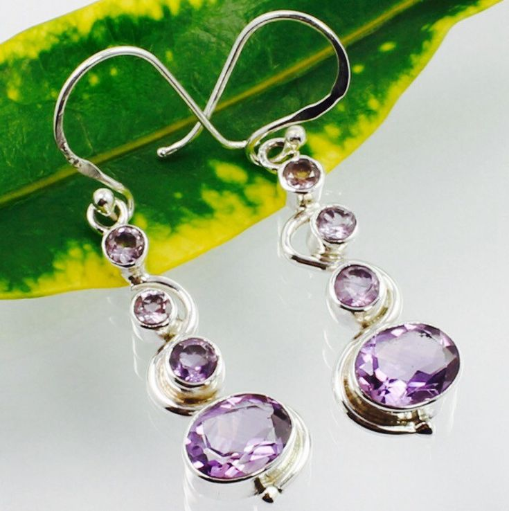 925 Solid Sterling Silver Real Purple AMETHYST Gemstones Dangle Earrings by IsaBellaJewellery on Etsy