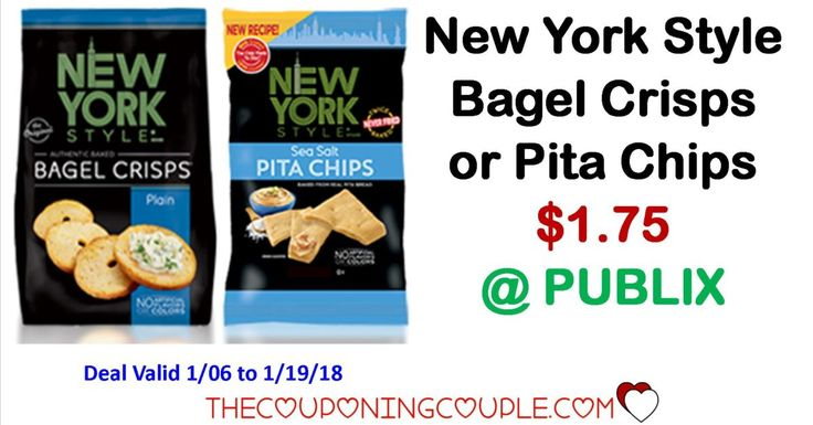 New York Style Bagel Crisps or Pita Chips $1.75 at Publix starting 1/6/18. Print your coupons now for this deal starting in the Upcoming Publix Green Grocery Flyer.  Click the link below to get all of the details ► http://www.thecouponingcouple.com/new-york-style-bagel-crisps-pita-chips/ #Coupons #Couponing #CouponCommunity  Visit us at http://www.thecouponingcouple.com for more great posts!