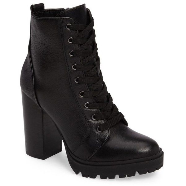 Women's Steve Madden Laurie Platform Bootie (£100) ❤ liked on Polyvore featuring shoes, boots, ankle booties, heels, black leather, leather ankle boots, black laced booties, stacked heel booties, black booties and black leather boots