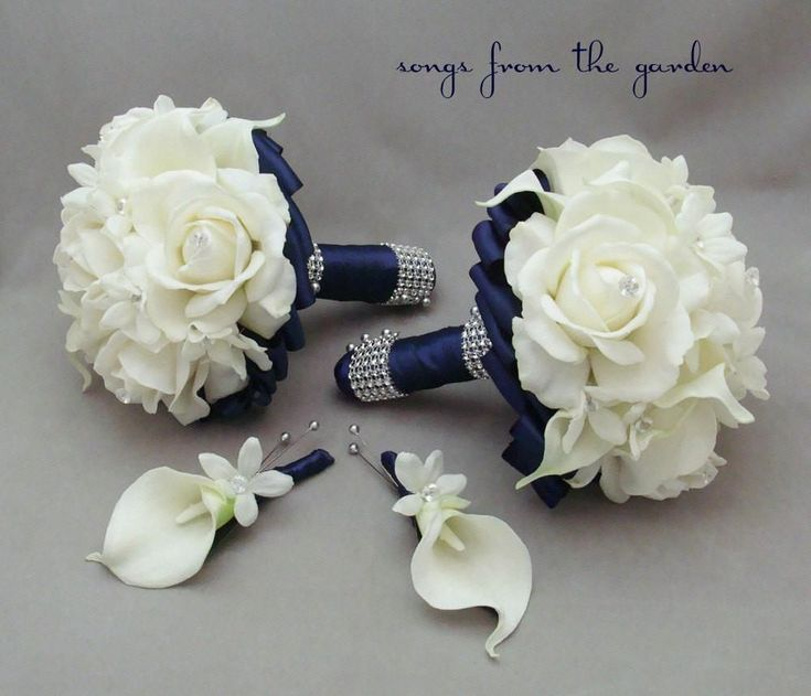 Navy Wedding Flower Package Bridesmaid Bouquets Groomsman Boutonnieres Stephanotis Real Touch Roses
