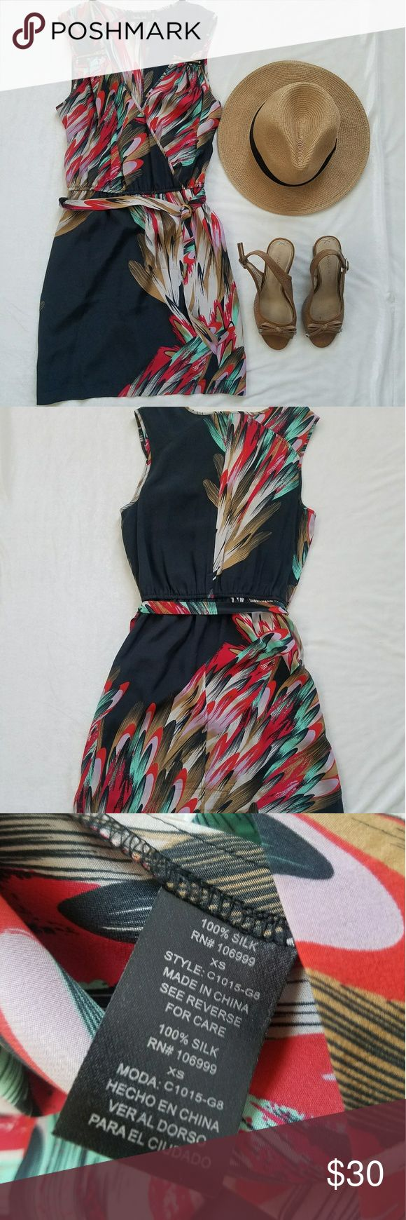 "100% Silk Charlie Jade dress 100% silk dress with colorful feather detailing gives this piece a fun and free spirit feel! Show your inner artist and add this dress to your gallery! Lightly worn with no signs of damage. Approximant measurements when flat:16"" chest 11 1/2"" waist 32"" long Charlie Jade Dresses Mini"
