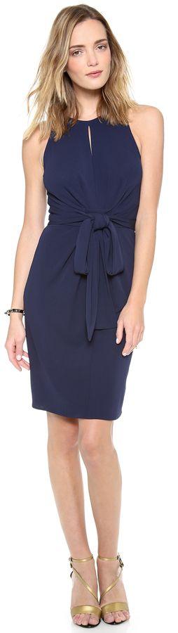 ISSA Sleeveless Tie Front Dress