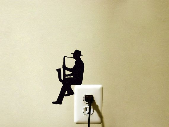 Light Switch Fabric Decal   Saxophone Wall by Mirshkastudio