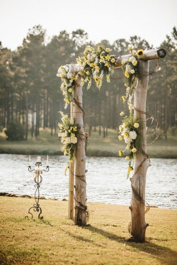rustic sunflower wedding altar