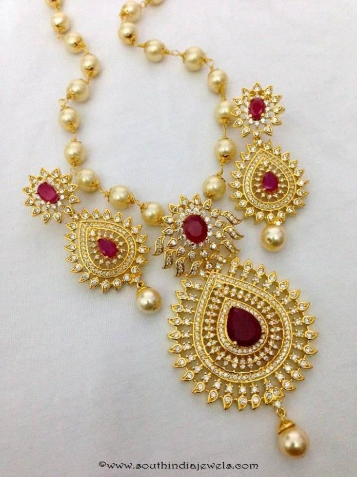 Imitation Ruby Necklace Set With Pearls Necklace