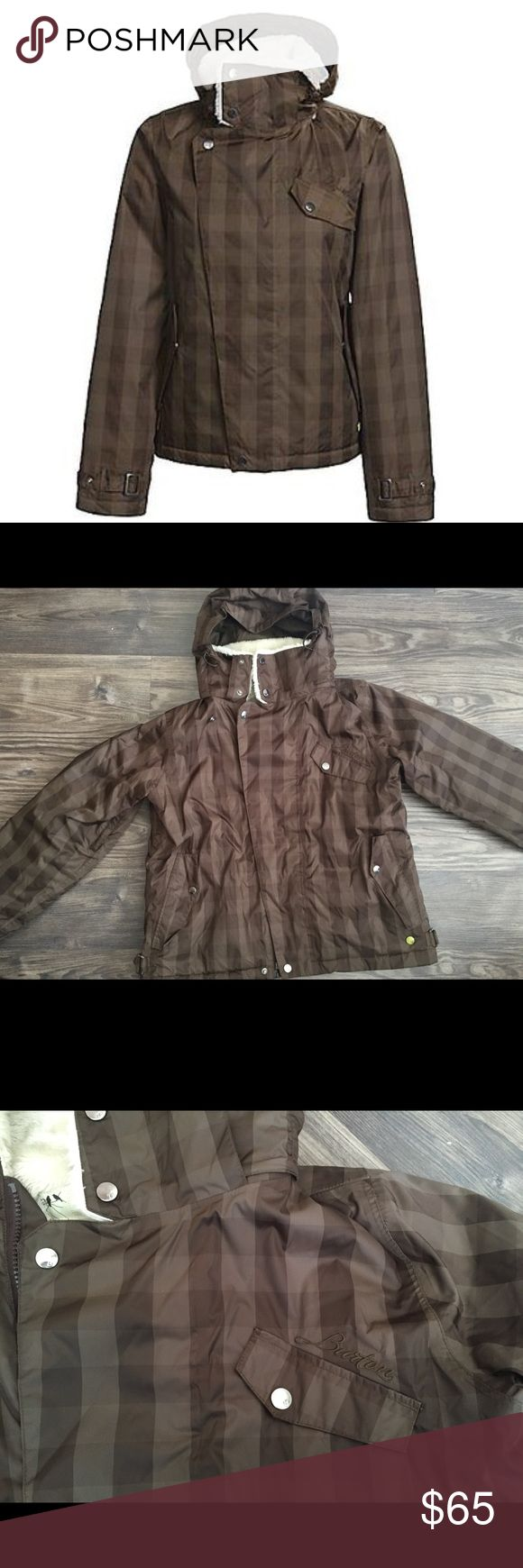 Burton snowboard jacket Nylon Faux fur Storm-lite 3.0-E custom woven plaid fabric Fully taped seams Faux fur lining and collar Sound pocket with headphone cable port Removerable contour hood *This is a stunning snowboard jacket No flaws and good condition Burton Jackets & Coats Puffers
