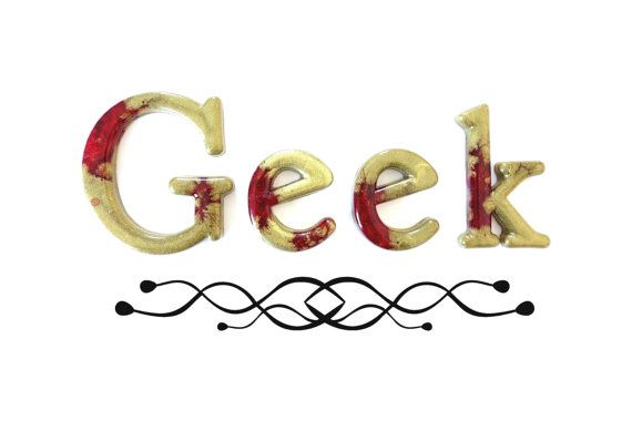 Geek Word Art Gold and Red Resin Artisan Home by WordosaurusText, $36.00