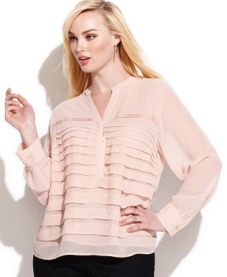 Calvin Klein Plus Size Long-Sleeve Pleated Blouse          I LOVE-LOVE-LOVE THIS BLOUSE!!!!! <3 PERFECT BLUSH COLOR! ~KIM NB~*+