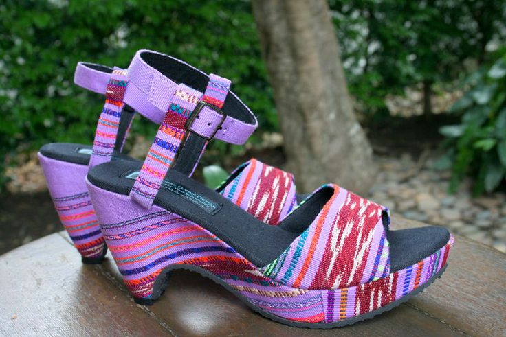Women's sandals in ethnic textiles. Purple hand woven Karen textiles with cut out wedge heels, perfect summer style. Chelsea - Handmade Hand woven cotton uppers