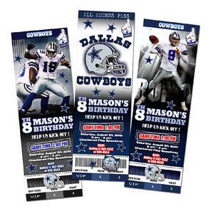 Image is loading DALLAS-COWBOYS-TICKET-BIRTHDAY-PARTY-INVITATION-FOOTBALL- NFL-
