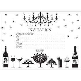 IV Black & White Invitations (pack of 10). www.gailscards.com.au