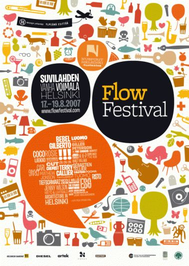 """Flyer pour le """"Flow Festival"""". L'utilisation de bulles de BD et d'illustrations très colorées en fond donnent une ambiance très fun et dynamique."""