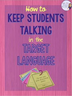 How to keep students talking in the target language - Tips and resources for helping your French students speak in the French during class. Get your FREE sentence starters for intermediate and advanced conversation here!