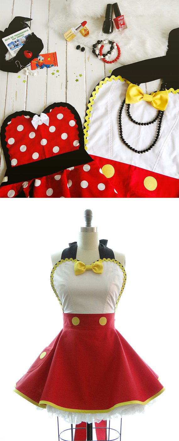 Retro Apron - Ms. Mouse Womans Aprons - Vintage Apron Style - Pin up Rockabilly…