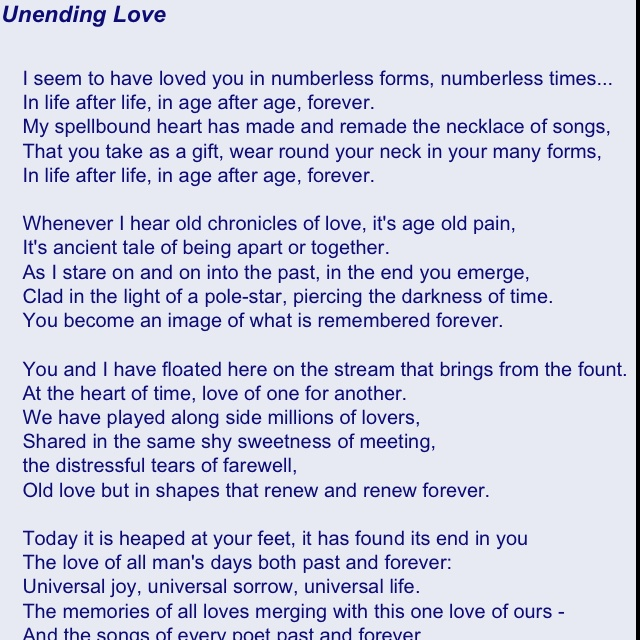 Unending Love by Rabindranath Tagor