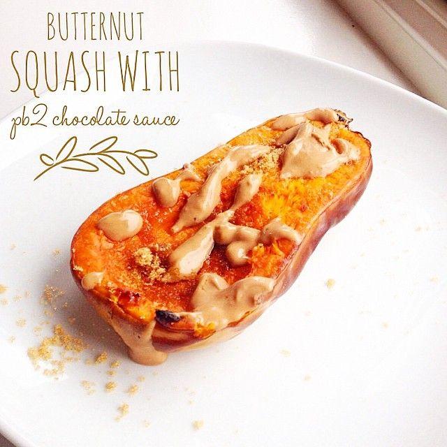 Høstmat! Bakt flaskegresskar med hjemmelaget sjokolade- og peanøttsaus og et dryss Sukrin Gold ✨ #Padgram