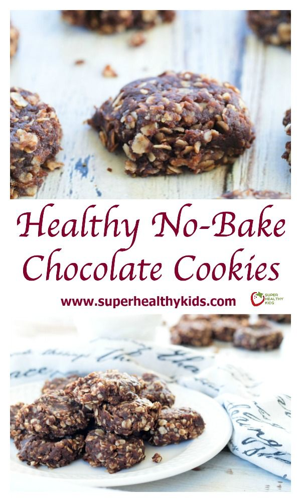 Healthy No-Bake Chocolate Cookies. Twist on a classic chocolate no-bake cookie with 1/4 of the sugar! http://www.superhealthykids.com/healthy-no-bake-chocolate-cookies/