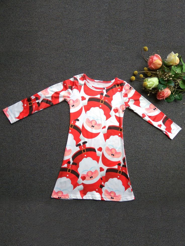 Fashionable Round Neck Long Sleeve Santa Claus Print Mini Christmas Dress For Girl #shoes, #jewelry, #women, #men, #hats, #watches