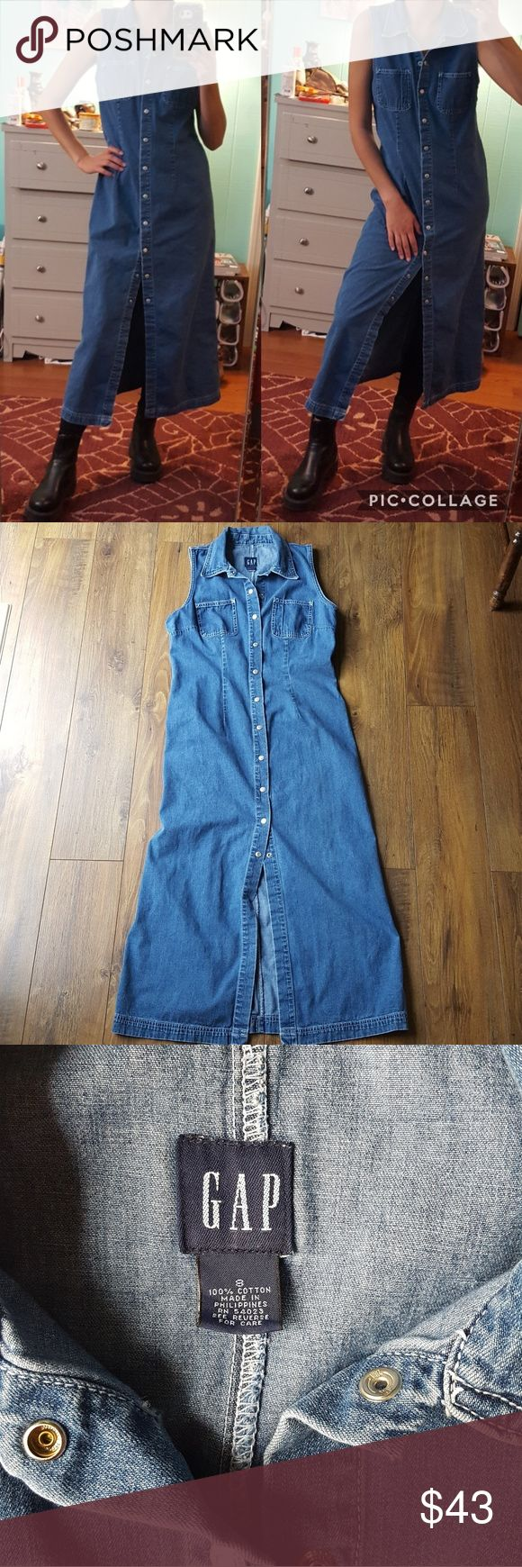 90's long denim dress Amazing grunge style piece.  All snaps are functional.  Size 8, good for a larger small or medium.  Modeled on an xs.  Bundle discount.  I love offers :) GAP Dresses Midi