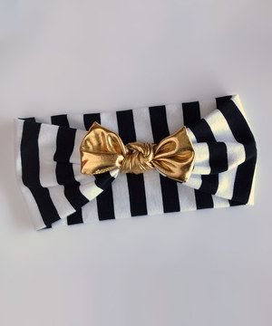 Look what I found on #zulily! Black & White Stripe Bow Headband by Indie Littles #zulilyfinds