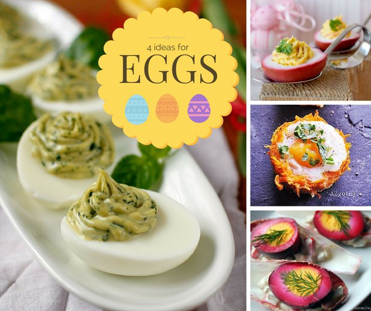 4 ideas for Easter Eggs:   Basil stuffed eggs http://cooklet.com/recipe/6390/basil-stuffed-eggs  Smoked salmon salad devilled eggs  http://cooklet.com/recipe/6481/smoked-salmon-salad-devilled-eggs   Baked Eggs in Horseradish Carrot Basket  http://cooklet.com/recipe/6488/baked-eggs-in-horseradish-carrot-basket   Marinated Eggs with Mayonnaise on Chicory Leaf Gondolas  http://cooklet.com/recipe/6480/marinated-eggs-with-mayonnaise-on-chicory-leaf-gondolas