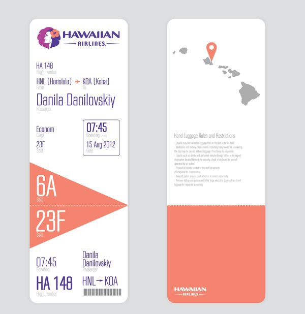 Ticket's design by Alina Telpuhova, via Behance