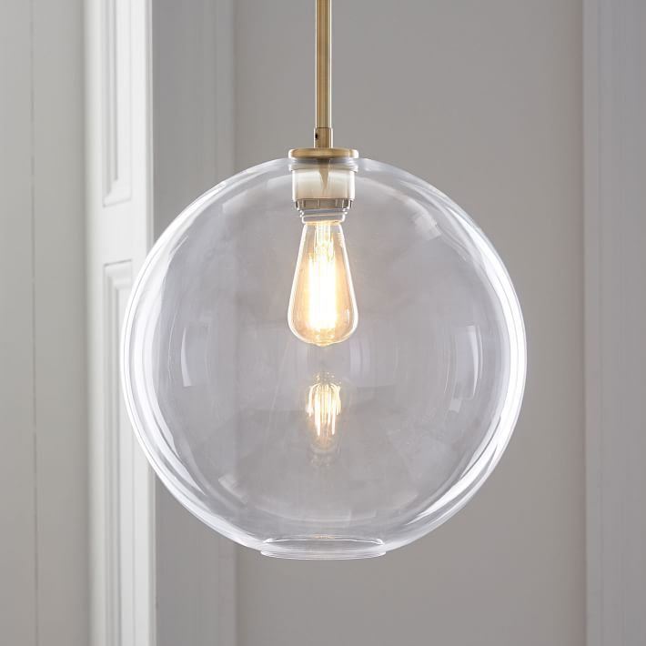 Sculptural Glass Globe Pendant Large Globe Clear Shade Brass
