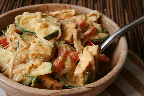 rice noodle peanut butter salad 5 by crumblycookie, via Flickr