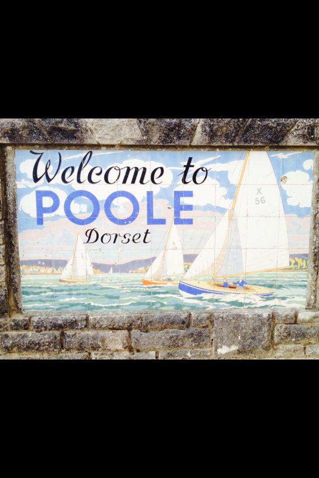 Poole Pottery tiles along the beach at Poole, Dorset, England