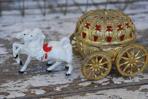 Vintage Cinderella's Carriage Music Box Jewelry par gilbug1boxes, $48.00