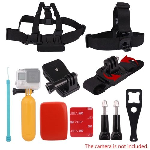 Andoer 8in1 Chest Strap Head Strap Floating Grip Floaty Buoy 360��Rotating Wrist Strap 360�� Rotary Backpack Hat Clip Plastic Wrench Tool Long Screw for GoPro Hero 4/3+/3/2/1 SJCAM SJ4000 SJ5000 Action Cameras
