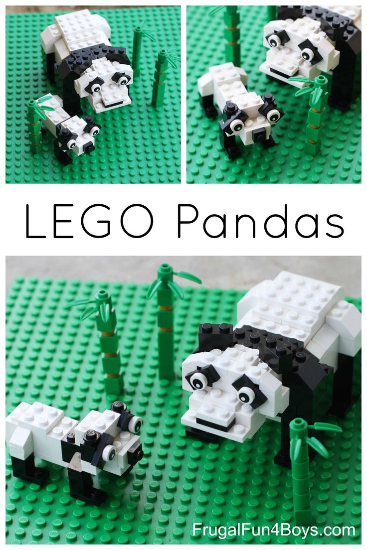 Building instructions for a LEGO panda mother and baby.