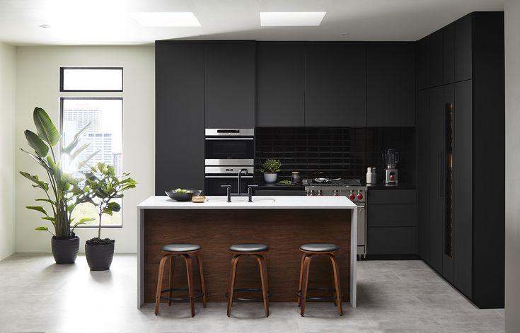 Image result for black and walnut modern kitchen