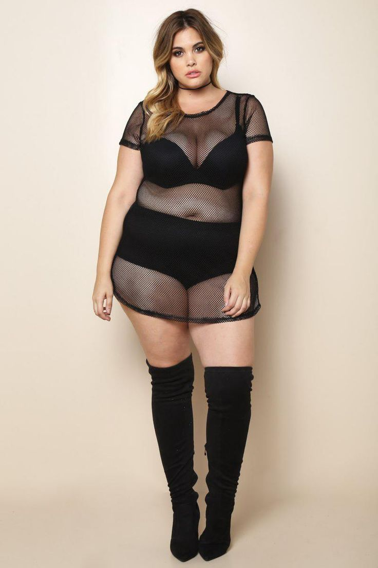 Reminiscent of tropical breezes, warm weather, and a great summer glow — this plus size mini dress features a head-turning fishnet fabric. Made with a crew neckline, short sleeves, and curved hem. Bra and underwear not included.