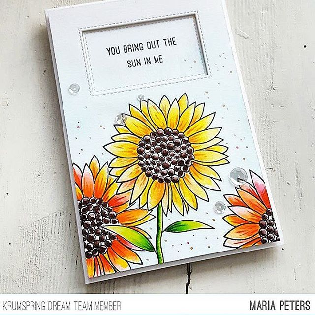 Maria has designed some brand new Stamp Sets and now it's release week at the @krumspring_ Blog You find the link in my profile.   For this card I used the beautiful 'For my Sunflower' Stamp Set and colored the flowers with my Zig's. The background is watercolored in light blue. Some sequins, paint splatters and Spectrum Noir Sparkle Pen finished the card.   #handmade #handmadecard #handmadecards #card #cardmaking #papercraft #papercrafts #papercrafting #stamping ...