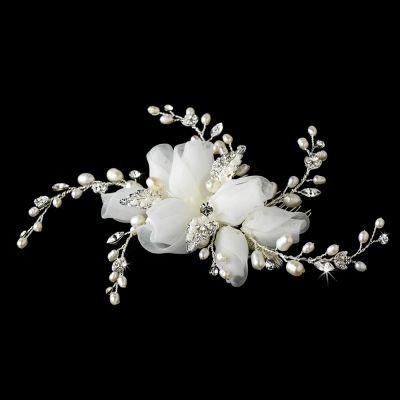 Erin Wedding Comb : Organza & Freshwater Pearls
