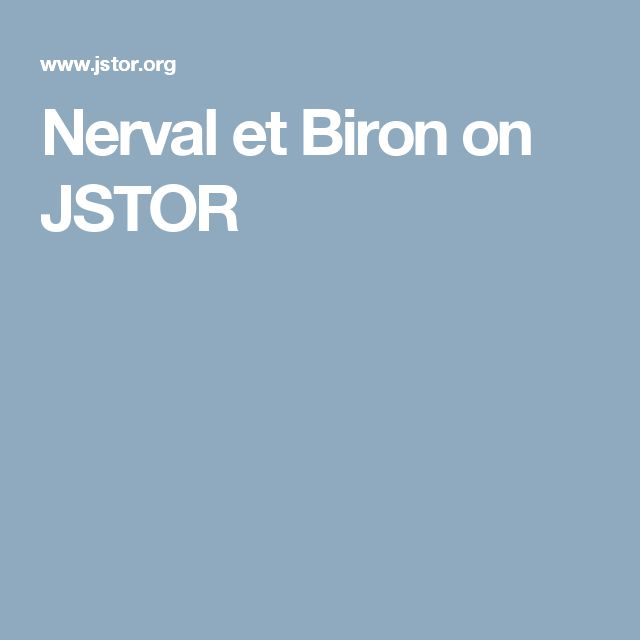 Nerval et Biron on JSTOR