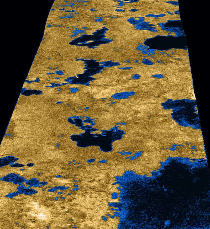 Great Lakes of Titan The existence of oceans or lakes of liquid methane on Saturn's moon Titan was predicted more than 20 years ago. But with a dense haze preventing a closer look it has not been possible to confirm their presence. Until the Cassini flyby of July 22, 2006, that is. Radar imaging data from the flyby, published this week in the journal Nature, provide convincing evidence for large bodies of liquid. This image, used on the journal's cover, gives a taste of what Cassini saw…
