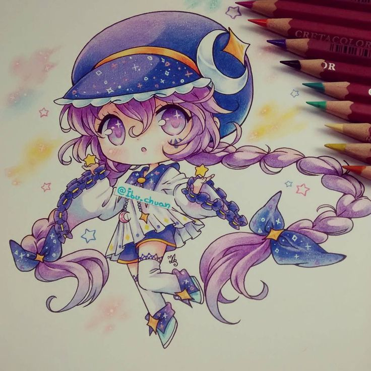 """Painted with pencil cretacolor and pen white pilot"" <--- read please ;3 Ella pertenece a mirayue de deviantart, no es mi OC. Tengo sueño q---q) algún consejo o tip para poder dormir? #stars #estrellas #trenzas #purpplehair #gorro #stelar #galaxy #chibi #kawaii #kawaiigirl #traditional #cute #colorpencil #pencilcretacolor"