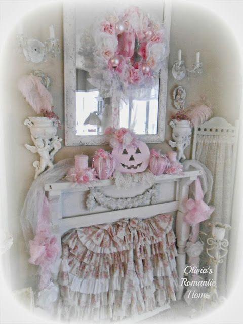 olivias romantic home shabby chic pink pumpkin fall pink halloween