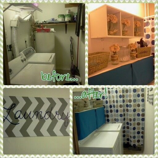 Laundry Room Makeover Using A Shower Curtain To Hide An Ugly Water Heater And Pipes Used Shelf Velcroed The Dr