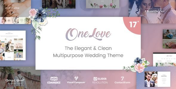 OneLove - The Elegant & Clean Multipurpose Wedding WordPress Theme by catanis  100 WordPress 4.8  and WooCommerce 3.1  compatible OneLove is an elegant & clean wedding theme with multi-ideas & purposes. With