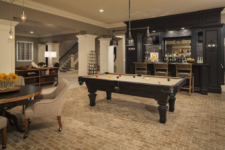Martha o 39 hara interiors basements benjamin moore ozark shadows bar basement bar brick - Basements designs ...