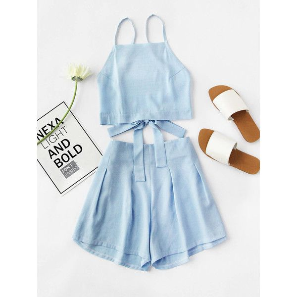 Bow Tie Open Back Cami Top And Shorts Set ($15) ❤ liked on Polyvore featuring blue, polyester camisole, blue camisole, strappy cami and blue cami