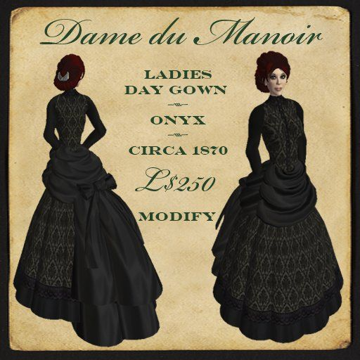 Montagne Noire - Dame du Manoir - ladies Dark Victorian dress Gothic gown - onyx