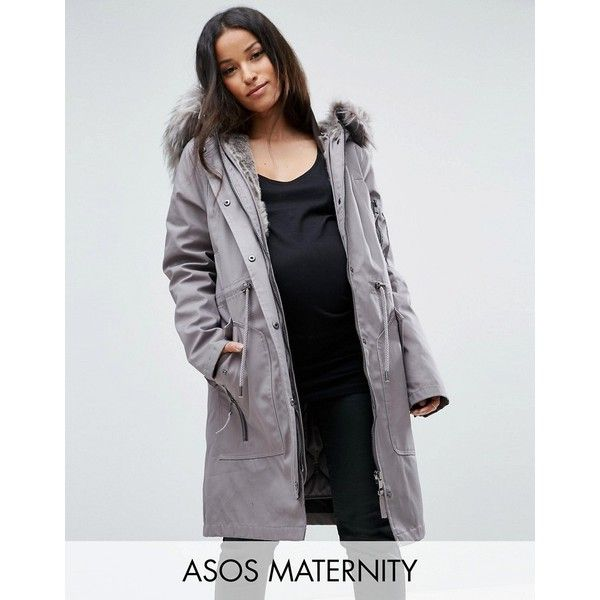 ASOS MATERNITY Parka with Detachable Faux Fur Liner ($119) ❤ liked on Polyvore featuring grey, maternity and asos