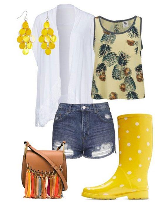 С чем носить жёлтые ботинки